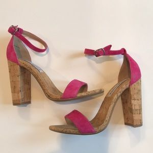 Steve Madden Pink Suede and Cork Heel